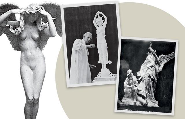 Três obras para as quais Audrey posou como modelo; no centro,, Alexander Stirling Calder em ação (Foto: Arnold Genthe/library Of Congress,library Of Congress, San Francisco Public Library Collection e Divulgação)