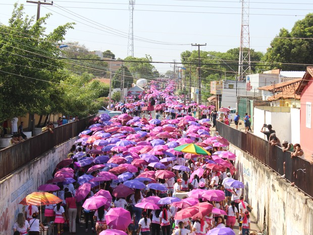 Laço foi feito pela multidão no fim da caminhada (Foto: Gustavo Almeida/G1)