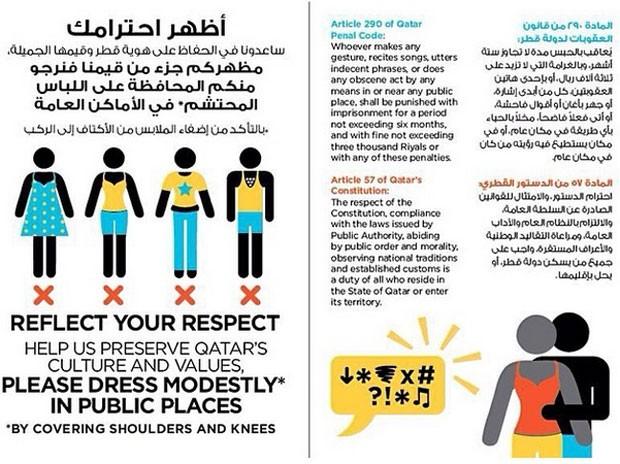 Qatar faz campanha para turistas vestirem roupas discretas (Foto: Reprodução/Twitter)