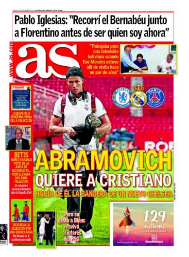 Diário AS Cristiano Ronaldo Chelsea