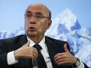Ministro da Fazenda, Henrique Meirelles, durante o Forum Econômico Mundial em Davos, nesta quarta-feira (Foto: REUTERS/Ruben Sprich)