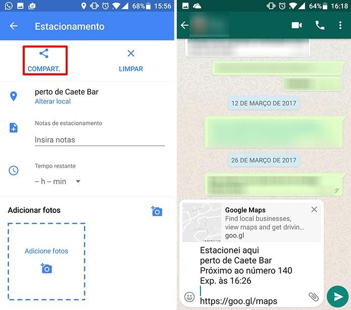 Google Maps permite compartilhar informações de estacionamento com amigos (Foto: Reprodução/Elson de Souza)
