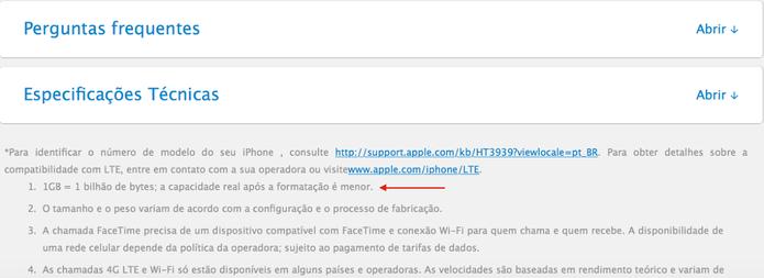 Página oficial do iPhone 5S apresenta aviso sobre espaço interno (Foto: Divulgação/Apple)