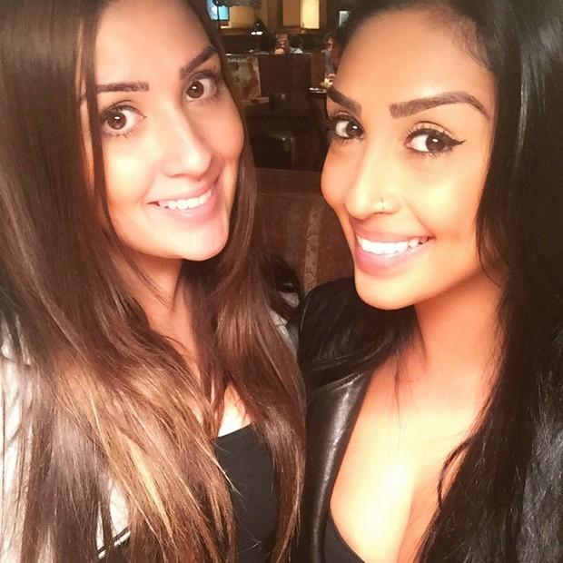 Ex-BBBs Tamires e Amanda em São Paulo (Foto: Instagram/ Reprodução)