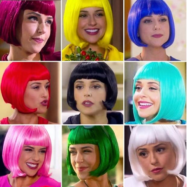 Priscila Sol com as diferentes cores de cabelo da Tia Perucas (Foto: Reprodução/Instagram)