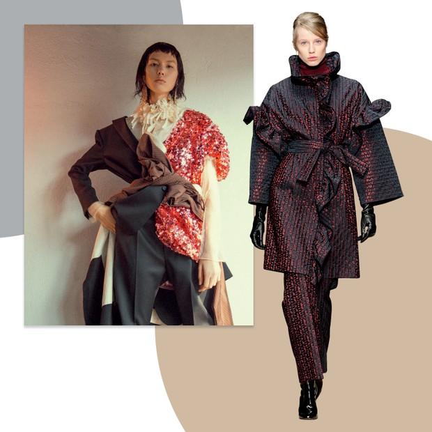 À esquerda, Blazer e calça, ambos Saint Laurent, camisa Gloria Coelho e vestido de paetês Dolce & Gabbana, em editorial da Vogue de outubro (Foto: Cassia Tabatini, Gil Inoue/arquivo Vogue, Zee Nunes/Arquivo Vogue e Imaxtree)