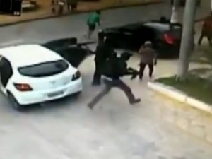 Vídeo mostra ação de criminosos em ataque a agência bancária (Foto: Divulgação/Polícia Militar)