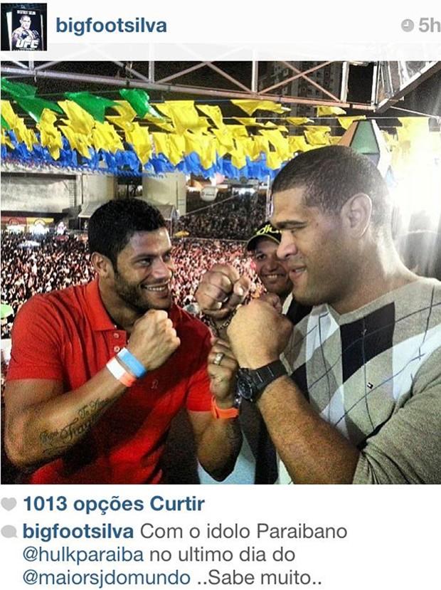 Pezão e Hulk se encontram no Maior São João do Mundo (Foto: Reprodução / Instagram)