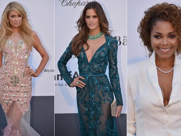 23/05/2013 - Paris Hilton, Izabel Goulart e Janet Jackson chegam para a festa beneficente da amfAR, fundação contra a Aids, durante o Festival de Cannes. (Foto: ALBERTO PIZZOLI / AFP)