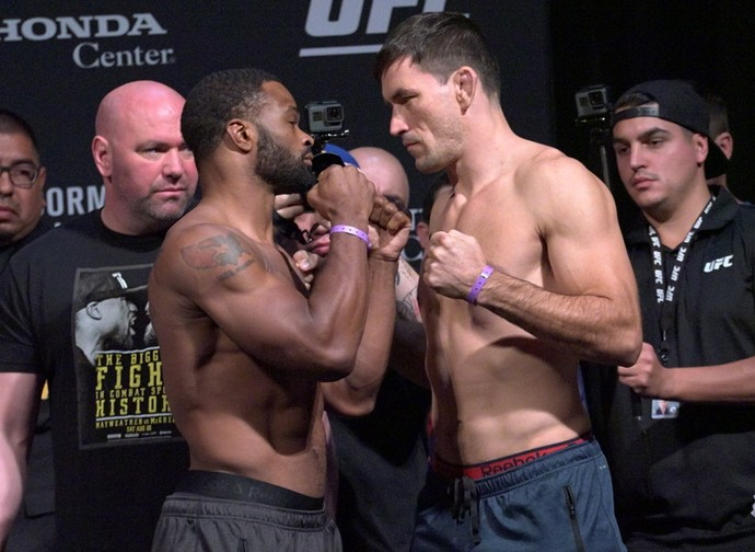 Tyron Woodley x Demian Maia, encarada, pesagem UFC 214 (Foto: Evelyn Rodrigues)