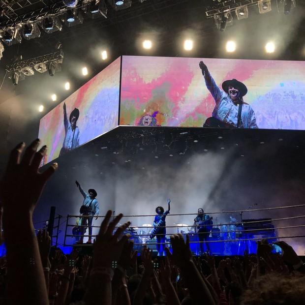 A banda Arcade Fire durante show no Sambódromo do Anhembi, em São Paulo (Foto: Felipe Blumen)