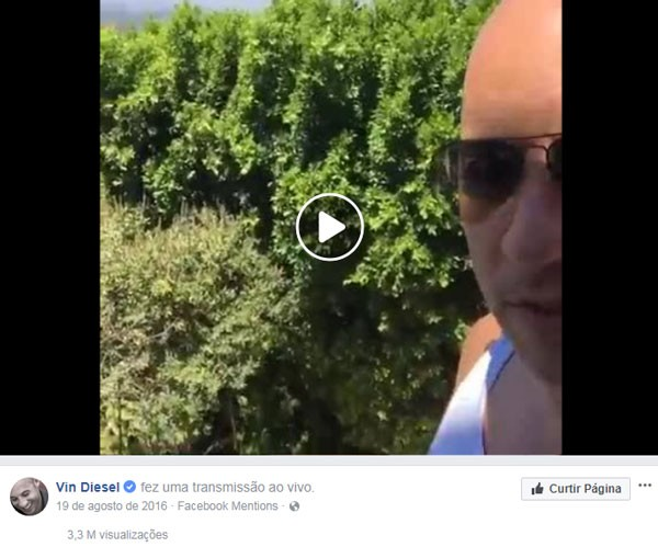 Postagem de Vin Diesel (Foto: Reprodução/Instagram)