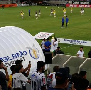 Arena Pantanal, caixa de som improvisada (Foto: Robson Boamorte)