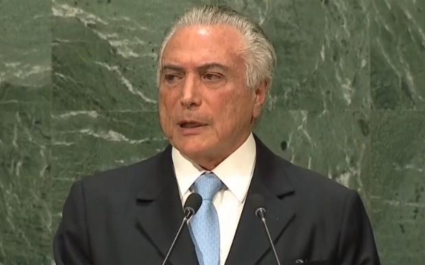 Michel Temer abre a sessão de debates na Assembleia da ONU (Foto: Reprodução/Globo News)