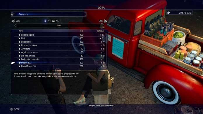 Compre itens e faça missões em Final Fantasy XV (Foto: Reprodução/Murilo Molina)