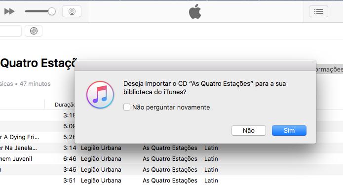 iTunes sugerindo a importação das músicas do CD inserido (Foto: Reprodução/Edivaldo Brito)