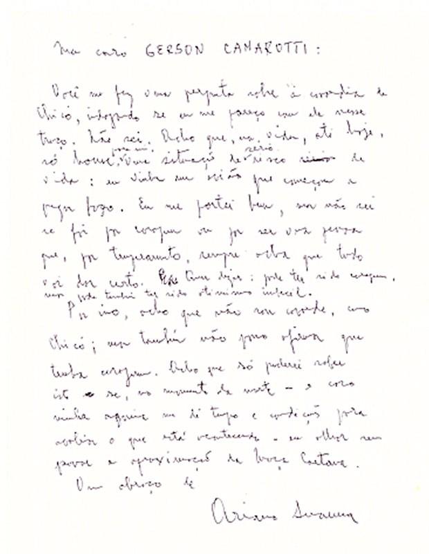 Manuscrito enviado pelo escritor Ariano Suassuna ao jornalista Gerosn Camarotti