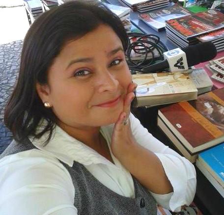 Dione Aguiar na feira de livros de Iguape (Foto: Arquivo Pessoal)