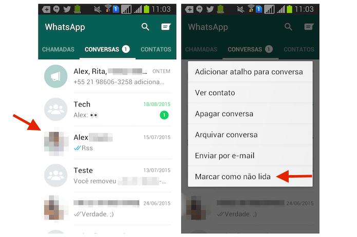Acessando a opção para marcar uma mensagem como não lida no WhatsApp para Android (Foto: Reprodução/Marvin Costa)