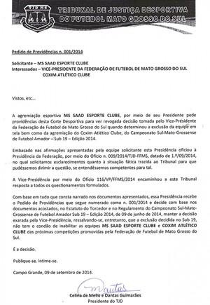 Documento TJD-MS pedido de providências Coxim MS Saad (Foto: Reprodução)