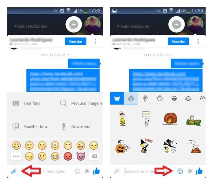 Incluindo emoticons por meio do celular (Foto: Reprodução/Lívia Dâmaso)