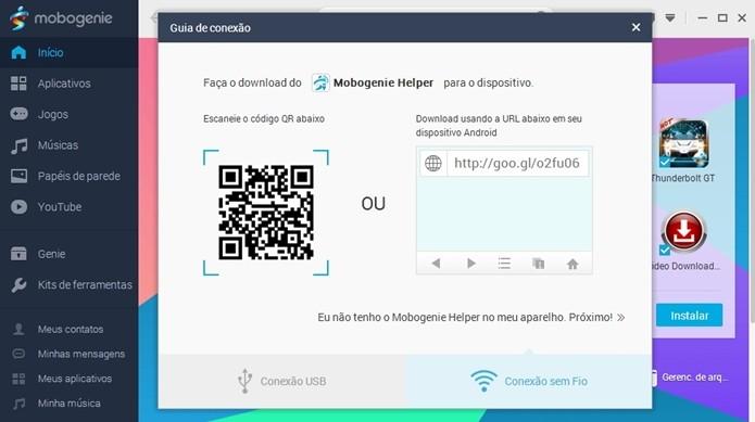 Código QR e URL do arquivo APK do Mobogenie para Android (Foto: Reprodução/ Raquel Freire)