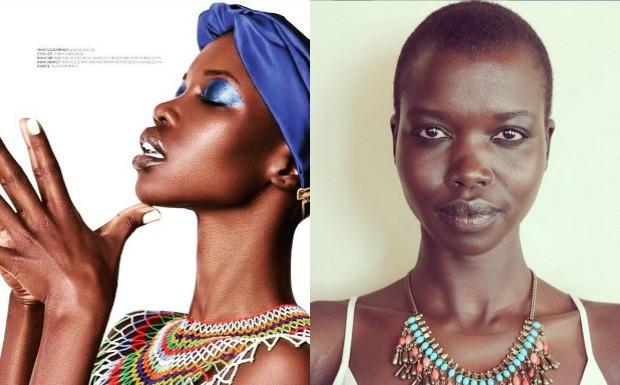 Em rede social, modelo do Sudo do Sul protesta contra despreparo de maquiadores profissionais para cuidar da pele negra  (Foto: Reproduo / Instagram)