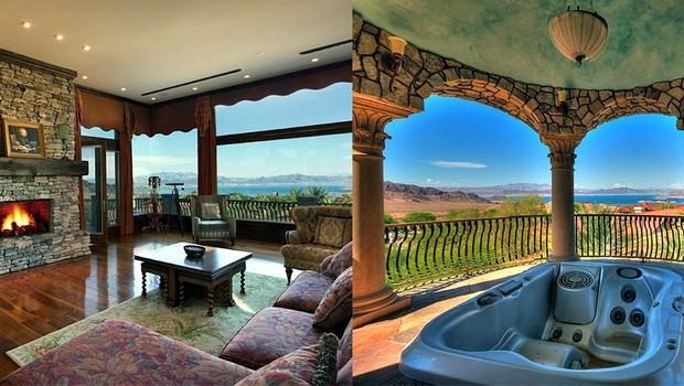 Sala com lareira mantém moradores aquecidos; jacuzzi é garantia de relaxamento (Foto: Reprodução internet)