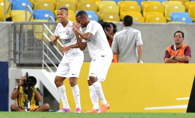 Robinho comemora gol do Santos contra o Botafogo (Foto: André Durão)