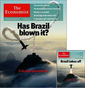 As capas da 'Economist' - a atual, e em tamanho menor, a de 2009 (Foto: Reprodução/The Economist)