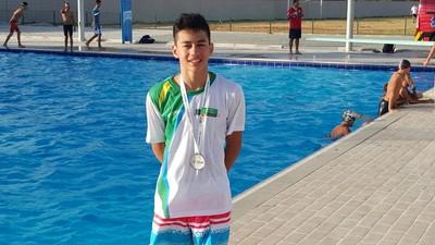 Luiz Henrique, prata nos 50m peito dos Jogos Escolares da Juventude, em Fortaleza (Foto: Arquivo pessoal)