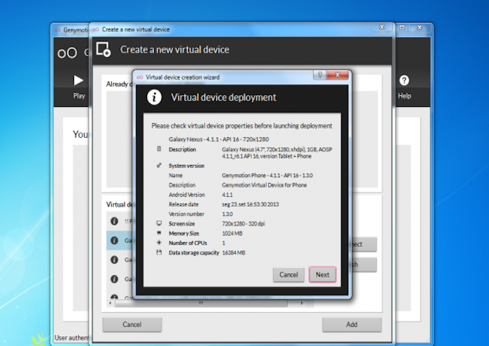 Especificações da máquina virtual Android (Foto: Reprodução)