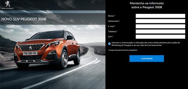 Novo Peugeot 3008 já tem site oficial no Brasil (Foto: Divulgação)