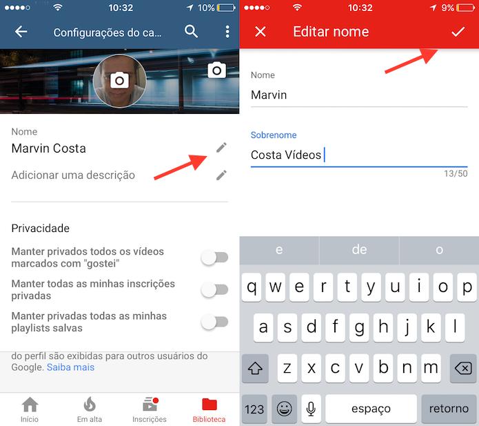 Opção para alterar o nome de um canal no YouTube pelo celular (Foto: Reprodução/Marvin Costa)