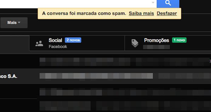 Mensagem marcada como spam na caixa de entrada do Gmail (Foto: Reprodução/Marvin Costa)