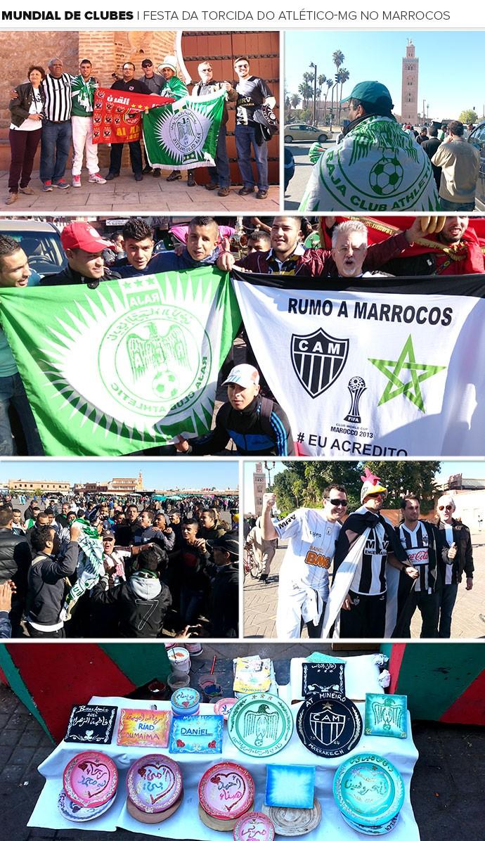 Mosaico torcida do Atlético-MG Marrocos Mundial (Foto: Editoria de Arte)