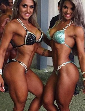 A Atleta Mari Reis (à esquerda) com a campeã da categoria, Aline Barreto (Foto: Arquivo Pessoal)