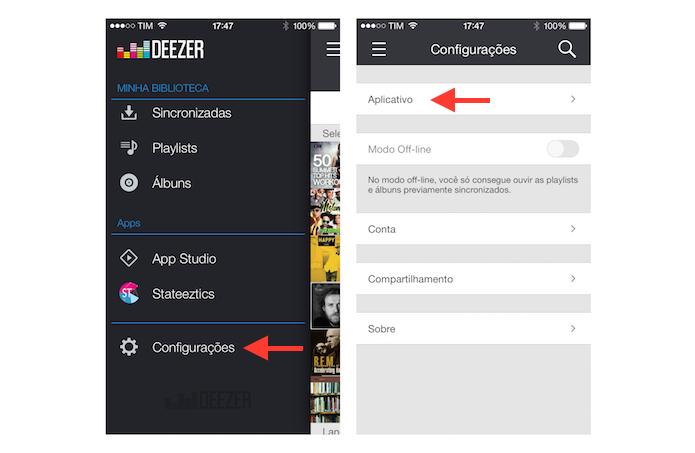 Acessando as configurações do Deezer no iOS (Foto: Reprodução/Marvin Costa)