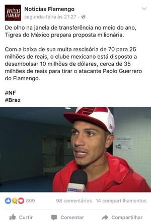 """A página """"Notícia do Flamengo"""" foi citada como origem da especulação de Guerrero no Tigres (Foto: Reprodução/ Facebook)"""