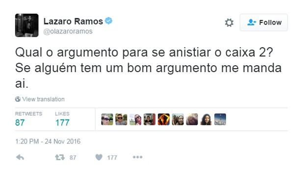 Lazaro Ramos comenta anistia a caixa2  (Foto: Reprodução/Twitter/@olazaroramos)