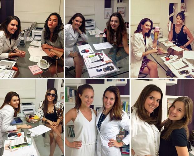 A nutricionista Patricia com algumas de suas clientes famosas (Foto: Arquivo Pessoal)