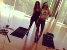 Irmãs Kardashian passam o sábado malhando juntas