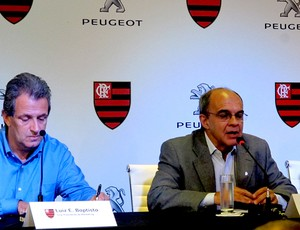 presidente do flamengo eduardo bandeira de mello e luiz eduardo baptista, vice de marketing (Foto: Janir Junior)
