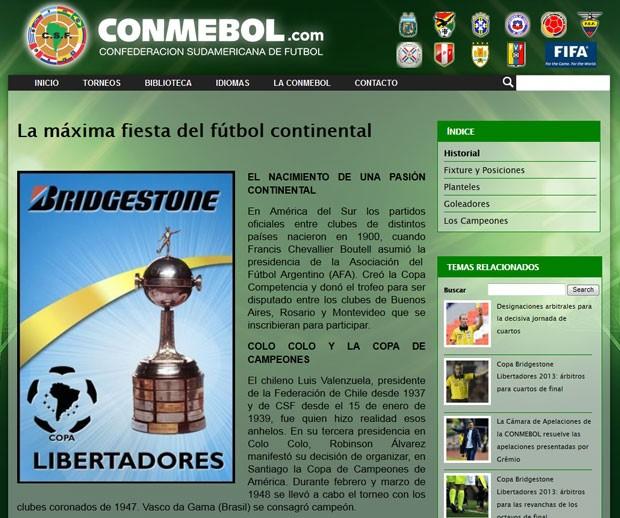 Vasco Libertadores Conmbebol  (Foto: Reprodução / Site Oficial)