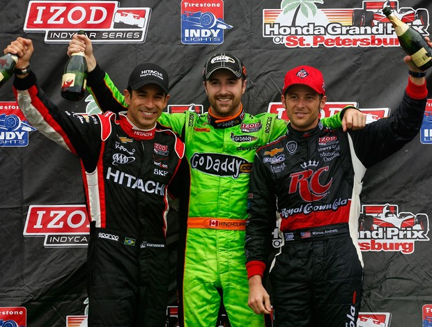 GP Indy São Petesburgo -  Helio Castroneves, James Hinchcliffe, Marco Andretti (Foto: Getty Images)