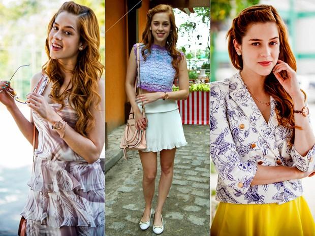 Fluidez define os looks de Gaby (Foto: Raphael Dias/ Carol Caminha/ Raphael Dias/ Gshow)