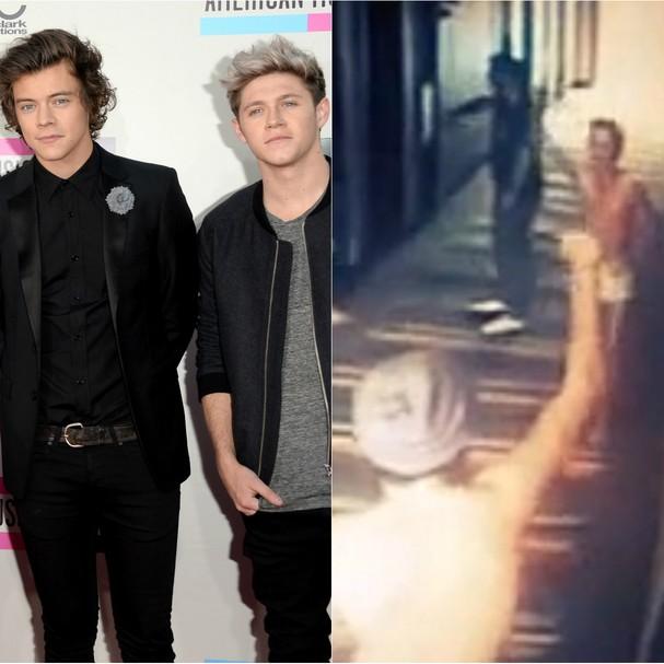 No começo desse ano, vazaram imagens que mostravam Harry Styles e Niall Horan, membros da boy band britânica One Direction, andando e dançando só de cueca no corredor de um hotel em Buenos Aires (Foto: Getty Images e Reprodução)