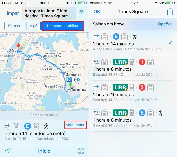 Use o Mapas do iPhone para ver rotas de transporte público (Foto: Reprodução/Juliana Pixinine)