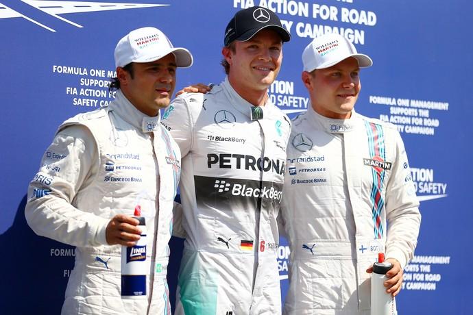 Nico Rosberg entre Felipe Massa e Valtteri Bottas, os três primeiros do grid de largada para o GP da Alemanha (Foto: Getty Images)
