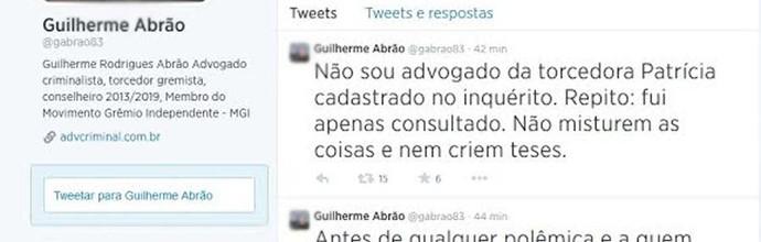 Perfil do Advogado mostrava vínculo com movimento do Grêmio (Foto: Reprodução, Twitter)